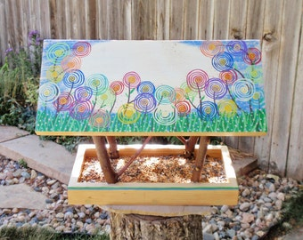 Persnickety Bird Feeder - Covered Bridge Style Open Air Bird Feeder - Multicolor Spring Wild Flowers - Reclaimed Wood and Branches Feeder