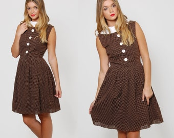 Vintage 50s POLKA DOT Dress Mocha Brown SWING Dress Fit and Flare Midi Dress Rockabilly Dress Sleeveless Day Dress