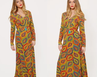 Vintage 70s PAISLEY Maxi Dress Colorful BOHO Maxi Dress Empire Waist Dress PSYCHEDELIC Hippie Dress