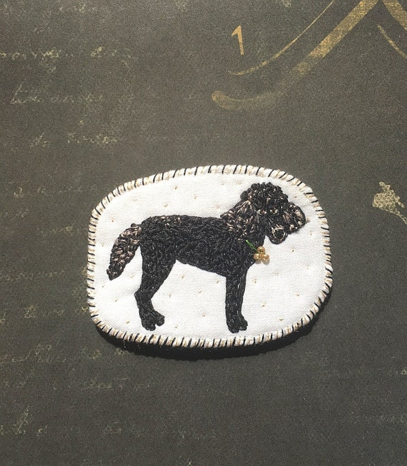 Embroidered brooch with magic black King poodle. Funny Dogs - collection, hand embroidered textile dog jewelry. Poodle brooch. Black dog.