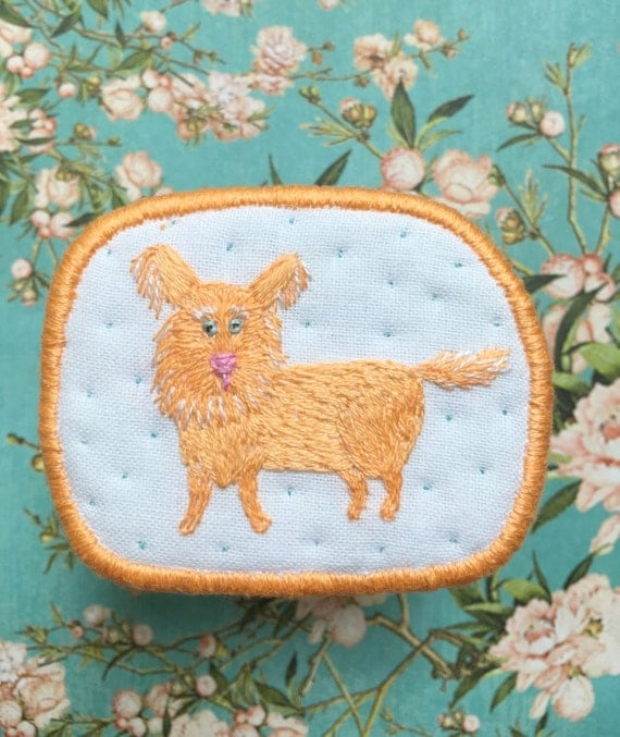 "Textile Dog Brooch ""Peachy"" -  Funny Dogs - collection, hand embroidered textile jewelry, pet portrait brooch."