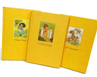 3 Vintage Little Hallmark Books | Illustrated Books | Trio Gift Books | Yellow Books | Hardcover Editions | Mini Book Stack | Book Jackets