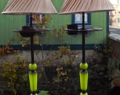 Art Deco Vaseline Glass Pair of Lamps mad from Smoke Stands