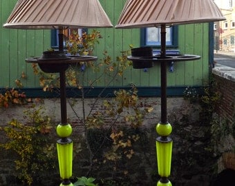 Art Deco Lamps Vaseline Glass Pair of Lamps Repurposed from Antique Art Deco Smoke Stands