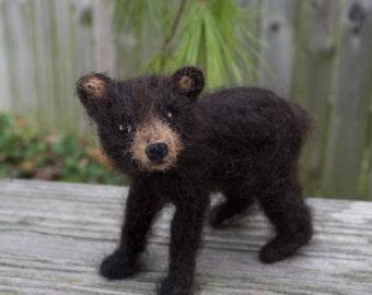 Needle Felted Black Bear Cub, Poseable, Baby Dark Brown Bear