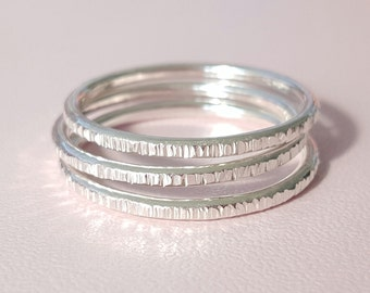 Sterling Silver Ring Sparkle Ring 14 gauge thick textured stackable ring choose quantity and size