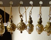 Earrings Freshwater Pearl Gold Filled Wires Bridal, Bridesmaid, Vintage Style FWP103