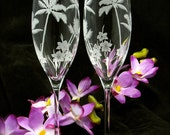 2 Personalized Wedding Toasting Flutes, Tropical Beach Wedding Decorations, Engraved Crystal Champagne Gift Set