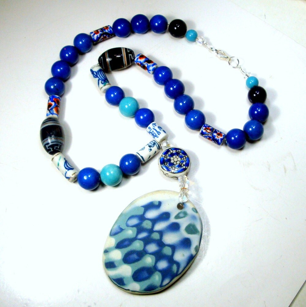 Ceramic Bead Beads: Blue And White Porcelain Pendant On Ceramic Bead Necklace