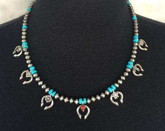 N27 Mini Squash Blossom Boho Style Necklace Sterling Silver Turquoise Santa Fe Pearls Seven Unique Najas