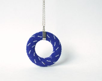 Mandala  Pendant shibori style indigo