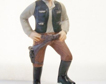 Han Solo Collectible Figurine, Sigma Hand Painted Bisque Porcelain, Vintage 1983 Star Wars Movie Memorabilia, Return of the Jedi