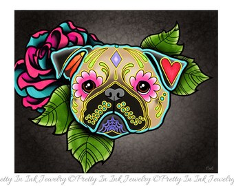 Fawn Pug - Day of the Dead Sugar Skull Dog Art Print - 8 x 10 - Prints for Pits Rescue Donation