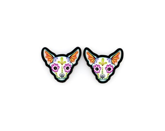 Chihuahua Earrings in White - Day of the Dead Sugar Skull Dog Post Earrings
