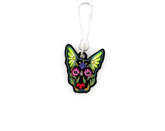 SALE Regularly 7.95 -  German Shepherd in Black - Collar Charm / Key Chain / Zipper Pull - Day of the Dead Sugar Skull Dog