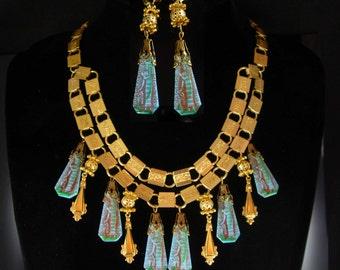 Reserved for sheh Vintage Egyptian necklace Chandelier earrings Vintage Art DEco Czech Egypt bookchain demi parure