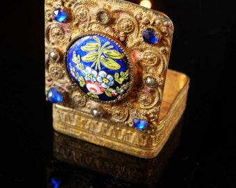 Antique Jewelry trinket box Chinese export enamel flower snuff case heirloom vintage chest