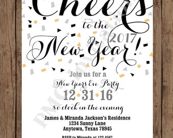 ON SALE Custom PRINTED 2017 New Years Eve Party Invitations - 1.00 each with envelope