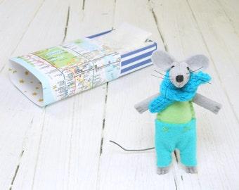 Stocking stuffers Christmas gift baby shower tiny felt stuffed animals lime green pastel light blue small mouse matchbox manhattan metro map