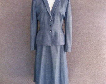 40s 50s Vintage Skirt Suit, Princess Seam Fitted Jacket, Flared Skirt, Navy Blue Pin Stripe Wool, Lewin's Wichita, Tulsa, Bust 35 36