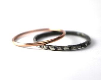 Trendy Stack Rings, Antiqued Ring, Rose Gold Filled Ring,  Custom Stack Rings, Hipster Rings, Sterling Silver, Boho Rings, Mixed Metal Rings