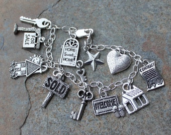Real Estate Agent Charm Bracelet - sterling chain and pewter charms - perfect for the realtor in your life -Free Shipping USA