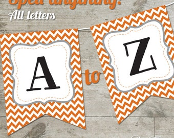 Texas Hook 'Em Horns Chevron Printable Banner, Letters A-Z + Numbers
