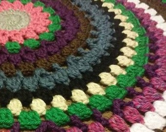 Circle Afghan Blanket, Round Throw, Heavy Blanket, Dancing in the April Showers, Thick Stormy Spring