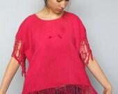 c'mon, get happy -- vintage woven cotton top with dramatic fringe details S/M/L
