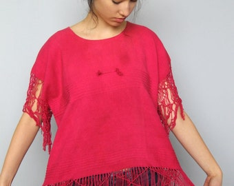c'mon, get happy -- vintage woven cotton top with dramatic fringe details S/M/L