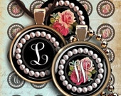 30mm size images ROSES and PEARLS MONOGRAMS for pendants, magnets, digital collages sheets downloadable ArtCult Clip Art for craft projects