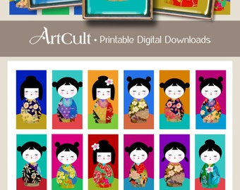 1x2 inch Printable JAPANESE DOLLS Digital Collage Sheet Kokeshi images for domino pendants magnets downloadable Digital paper by ArtCult