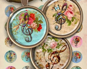 1 inch (25mm) and 1.5 inch size Circles MUSIC CLEF Digital Collage Sheet Printable Download for pendants for pendants magnets bezels trays
