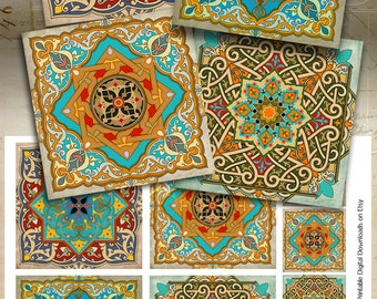 Oriental Images MOROCCAN ORNAMENTS 3.8x3.8 inch Printable download for coasters paper craft decoupage Digital Collage Sheet Art Cult