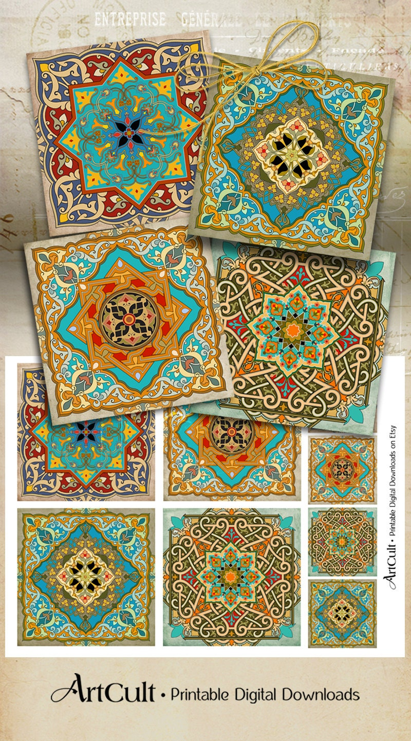 oriental images moroccan ornaments 3 8x3 8 inch printable