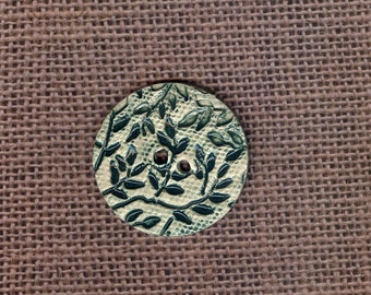 Jade green leaf textured button Artisan ceramic button garden Large button porcelain button stonewear button spring collection jewelry