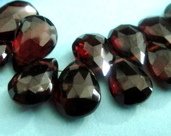 Garnet Pear Briolette, Red Wine Faceted Gemstone Beads, Janurary Birthstone, 4 PCS, Wholesale Beads, Brides, High Quality 9-10mm