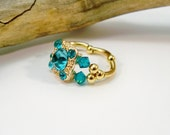 Cocktail Ring, Stretch Band Ring, Birthstone Ring, Crystal Ring, Aqua Blue and Gold, Gold Stretch Ring, Swarovski Crystal Ring, Gift for Her