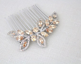 Champagne crystal hair comb, Bridal hair comb, Wedding headpiece, Bridal hair clip, Wedding hair accessory, Leaf hair piece, Crystal comb