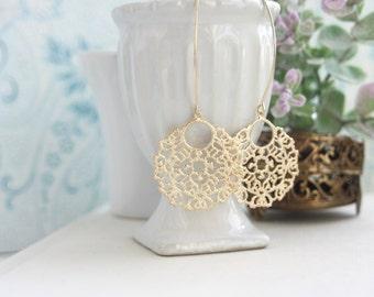 Gold Lace Earrings, Long Dangle Earrings, Big Lace, Large Gold Filigree Earrings, Indian Boho Wedding, Moroccan Earrings, Bridesmaids Gift