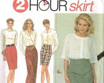 Slim Straight Maxi Length Short Skirt Simplicity 8141 Sewing Pattern Raised Waistline Size 6 8 10 12 Waist 23 24 25 26.5