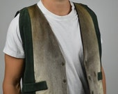 Mens 70s  Leather Vest and Fur Rancher Snap Button Vest With Fur Panels  Excellently Made Craftsmanship
