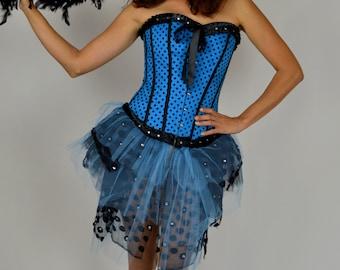 Burlesque Costume, Blue Burlesque Costume, Show Girl, Polka Dot, Cigarette Girl Costume, Saloon Girl, Zombie, Can Can Girl, 20's Costume