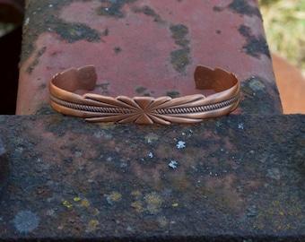 Copper Cuff, Copper Bracelet, Rockabilly Bracelet, Western Bracelet, Hand Carved, Simplistic, Mayan Indians, Vintage Bracelet