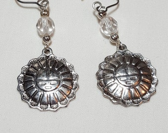 Southwestern sun dangle, drop earings, silver color with clear glass beads, aztec, indian, tribal