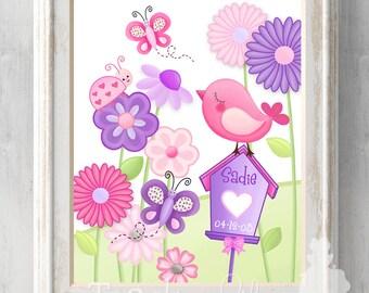 16 x 20 Personalized Unframed Sweet Little Garden Birdies Kids Bedroom Baby Nursery ART Print