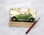 VW Beetle Card VW Bug Kelly Lime Green 5x7 Blank Greeting Card - Punch Buggy Green