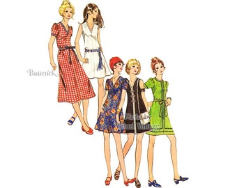 Butterick 5829 Easy Dress Pattern 70s Fashions, Jewel or V Neck Dress, Short Sleeves or Sleeveless Dress, Bust 36, Uncut