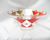 mid century modern glass serving bowl, large atomic glassware, salad, party, kitchen and dining, red gold geometric design