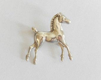 vintage sterling silver horse pony pin brooch, 925 silver, vintage jewelry, equestrian jewelry, horse brooch